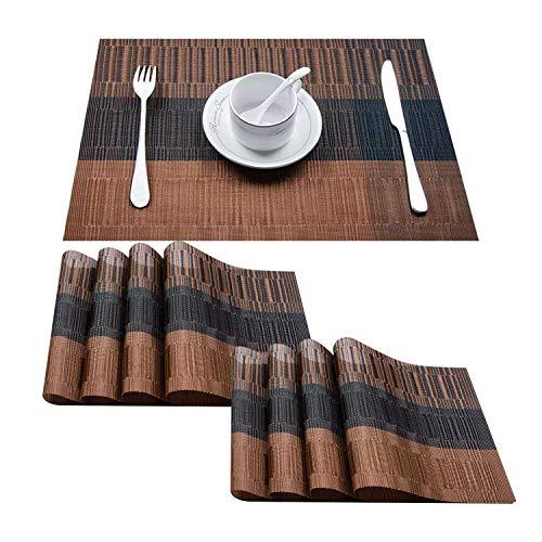 Topfinel Platzsets Abwischbar 8er Tischsets Abwaschbar Abgrifffeste Hitzebeständig Platzmatten mit Bambus-Optik für Küche mit Kontrastfarbe Braun und Schwarz 30x45