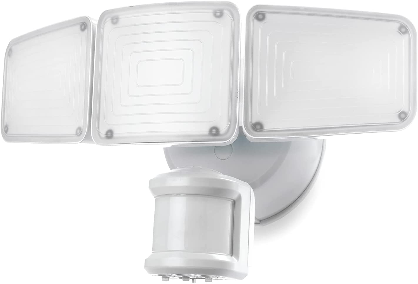 Home Zone Security 3500 Lumen LED Motion Sensor Light - Outdoor Weather Resistant Triple Head 5000K Security Light with Dusk to Dawn Mode and Easy Connect Back Panel, White