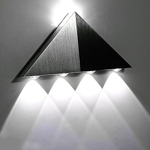 Lemonbest Modern Triangle 5W LED Wall Sconce Light Fixture Indoor Hallway Up Down Wall Lamp Spot Light Aluminum Decorative Lighting for Theater Studio Restaurant Hotel (Cool White)