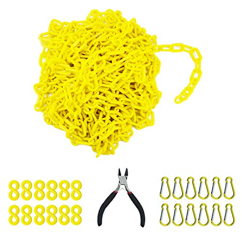 Reliabe1st 50 Feet Yellow Plastic Safety Barrier Chain with 12 S-Hooks and 12 Carabiner Clips | Caution Security Chain Safety Chain for Crowd Control, Construction Site | Safety Barrier