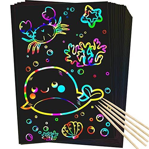 RMJOY Scratch Rainbow Art Paper Set - 50Pcs Magic Scratch off Art Craft Supplies Kits for Kids Girls...