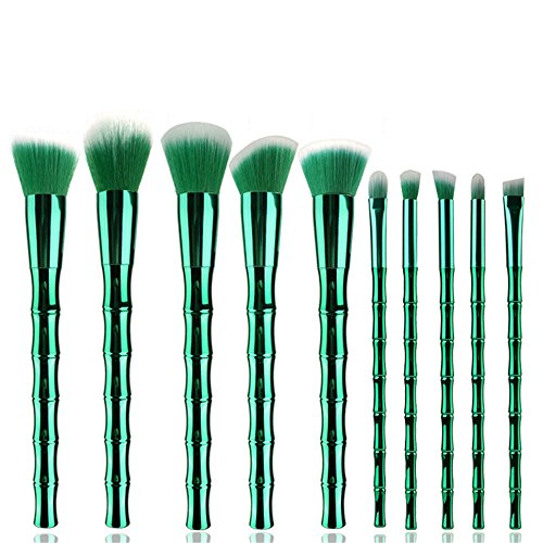 TYJKL Brosse Multifonctions Maquillage Bamboo Forme Maquillage Brosse de Brosse cosmétiques 10 en 1 Outils De Maquillage Professionnels