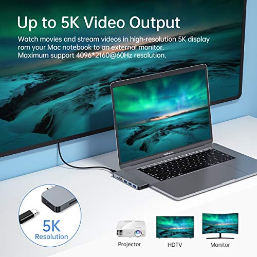 USB C Hub MacBook Pro Adapter, Aluminium Thunderbolt 3 Hub Dongle, Type C Adapter für MacBook Pro 2020/2019-2016, MacBook Air 2020-2018, mit 3 USB 3.0 Anschlüsse, 1 TF & 1 SD-Kartenleser