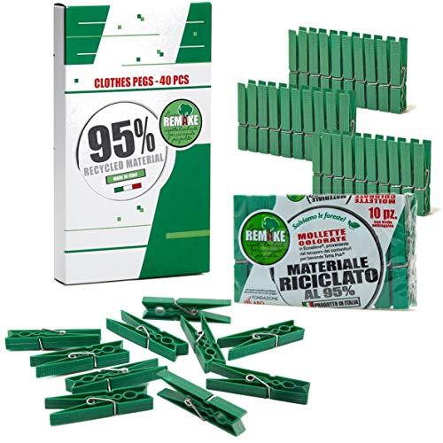 Remake 40 Piezas - Pinzas Ropa Ecológico 95% con Plastico Reciclado, Talla Grande. Fuertes y a Prueba de Viento. Made in Italy. Color Verde