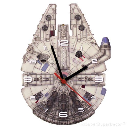 SuperDuperDecor Star Wars Wanduhr mit Millenium Falcon–Wanduhr