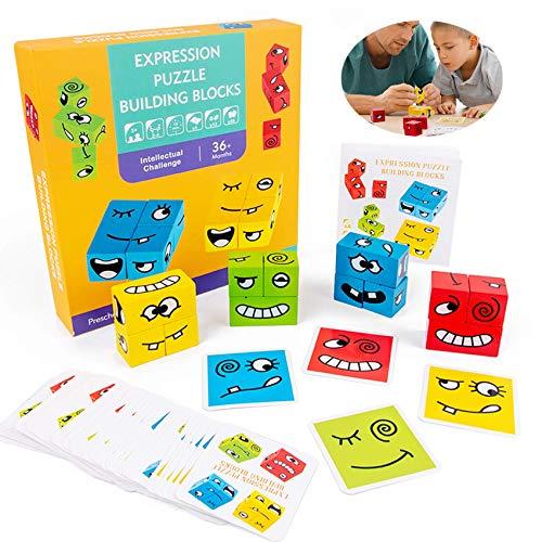 Sunshine smile Cubo de madera, juguete para cambiar la cara, cubo mágico, juguete para cambiar la cara, desafío de madera Montessori, regalo para niños preescolar (Huangxiao)