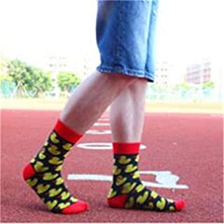 Calcetines De Pato Amarillo Fresco para Hombre Calcetines De Skate De Algodón Calcetines Divertidos De Arte Marea Calcetines De Duende Mascota Ocio 1 Paquete 5 Pares