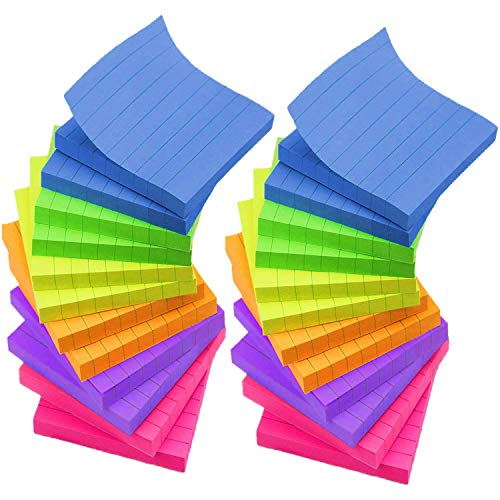 Notas adhesivas forradas de 3 x 3 pulgadas, 6 notas autoadhesivas de colores brillantes, 24 blocs/paquete, 70 hojas/bloc