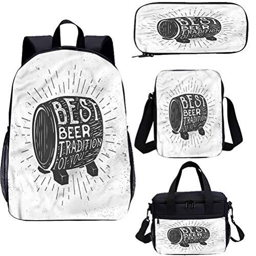 Man Cave - Set di zaino per la scuola e borsa per il pranzo da 15', motivo: barilotto di birra