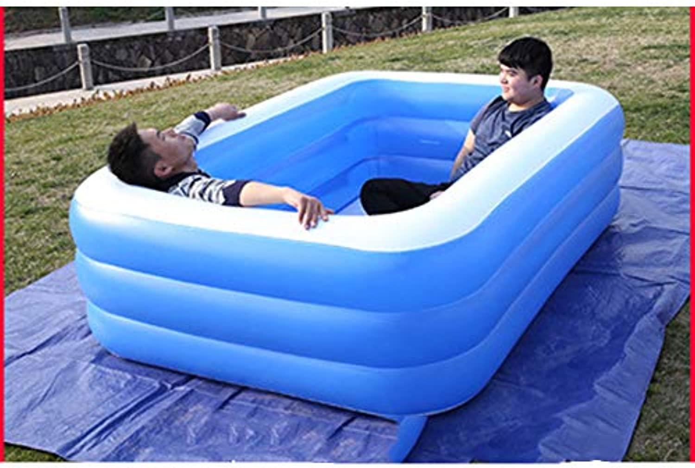 YUHAO(de) Riesiger Aufblasbarer Kinderpool - Familie Und Kinder Inflatierbarer Rechteckiger Pool(210x150x68cm)