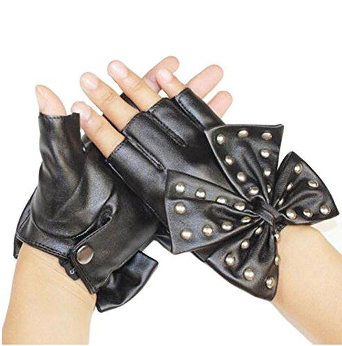 Meilleur hiver chaud à moitié noir GANTS en cuir pour vendre des femmes-13