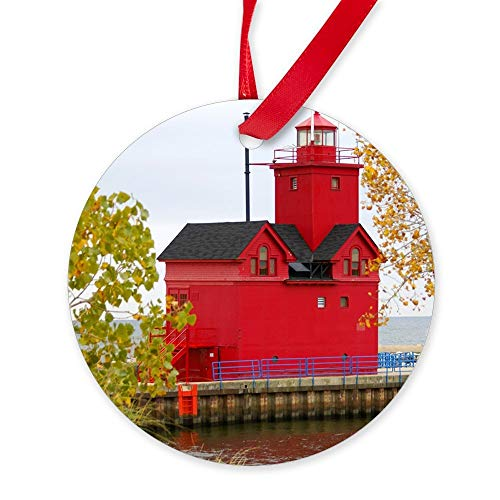 Yilooom Big Red, Holland Mi Ornament (Round) Round Christmas Ornament Hanging Christmas Decoration Gift Ceramic Ornament Xmas Special Keepsake Porcelain Art Display - 3