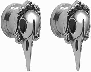 2 PCS Ear Tunnels and Plugs Earrings Expanders Screw Stainless Steel Crow Ear Gauges Fashion Body Piercings 1/2 Gauges for Ears 2g-5/8 inch