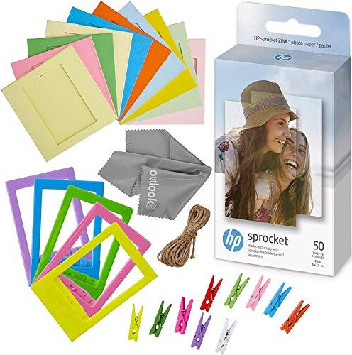 HP Sprocket 2x3 Premium Zink Sticky Back Photo Paper 50 Pack + 5 Plastic Desk Frames + 10 Paper Frames + Micro-Fiber Cleaning Cloth