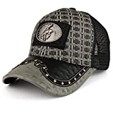 Straw Design Metallic Rodeo Cowboy Horse Metal Logo Trucker Mesh Baseball Cap - Charcoal Black