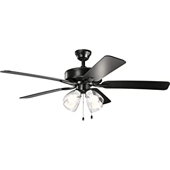 Canarm CF52CAR5BK Carson Ceiling Fan Matte Black 3 Light with LED bulbs