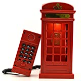 Gearmax Cabina telefónica Vintage Londres diseñado USB carga noche LED lámpara Touch Sensor mesa escritorio ligero brillo ajustable con cable teléfono fijo para casa dormitorios decoración