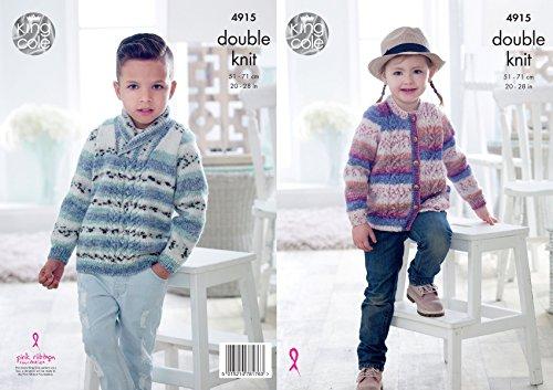 Koning Cole Kinderen, Dubbele Breien Patroon Jongens Meisjes Kabel Gebreide Trui & Vest (4915)
