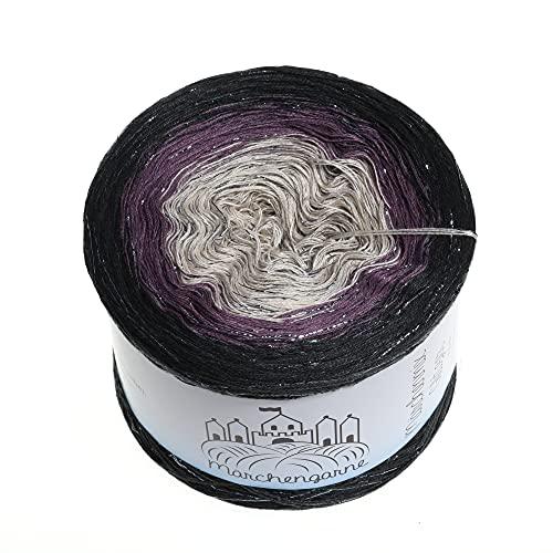 (74,00€/kg) LiLu´s Farbverlaufsgarn Maleficent 200g - 1000m - Anthrazit außen - 3 Fädig Bobbel Strickwolle Häkeln