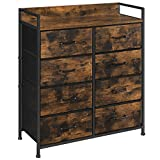 SONGMICS Drawer Dresser, Closet Storage Dresser, Chest of Drawers, 8 Fabric Drawers and Metal Frame with Handles, Rustic Brown and Black ULTS124B01