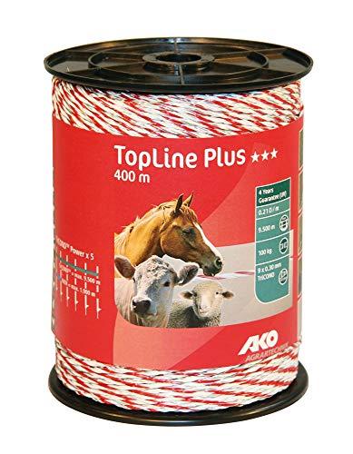 AKO Topline Plus wilgenschutting, 3 mm, wit/rood - 400 m - Weerstand: 0,21 Ohm, goede geleiding voor alle hekken - Praktische grote rol - 9X TriCOND ladder