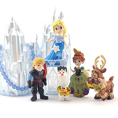 Pack Figuras Princesa Congelada Elsa Cake Topper, Set Mini Juego de Figuras Ana Niños PVC Coleccionable Decoracion Pasteles (5pcs Set)