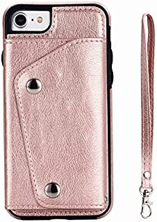 iPhone 7 Case,iPhone 8 Case, Wallet Case with Card Slot Holder Handbag Purse Wrist Strap Premium Leather Kickstand Shockproof Protective Cover for iPhone 7/8,Rose Gold