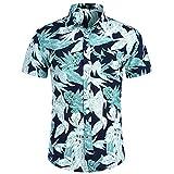 Camisa Hawaiana Hombre,Hawaiano Casual Abotonado Manga Corta Hojas Tropicales Creativas Impresas De Secado Rápido Transpirable Estilo Vintage Aloha Camisa para Hombre Mujer Vacaciones En La Playa,