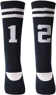 Colorfox Youth Team Sports Socks Teen Custom Number Crew Socks for Soccer, Football, Basketball 1 Pair Navy