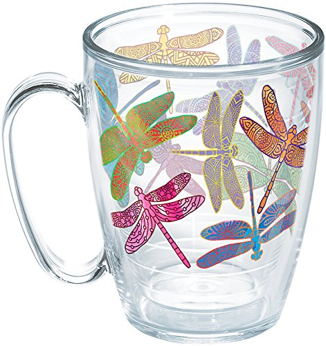 Tervis 1258391 Dragonfly Mandala Insulated Tumbler with Wrap, 16oz Mug, Clear