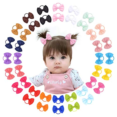 40PCS 2' Hair Bows Ties BoutiqueTiny Elastic Ponytail Rubber Hair Bands Accessories for Baby Girls Newborn Infants Toddlers and Kids in Pairs