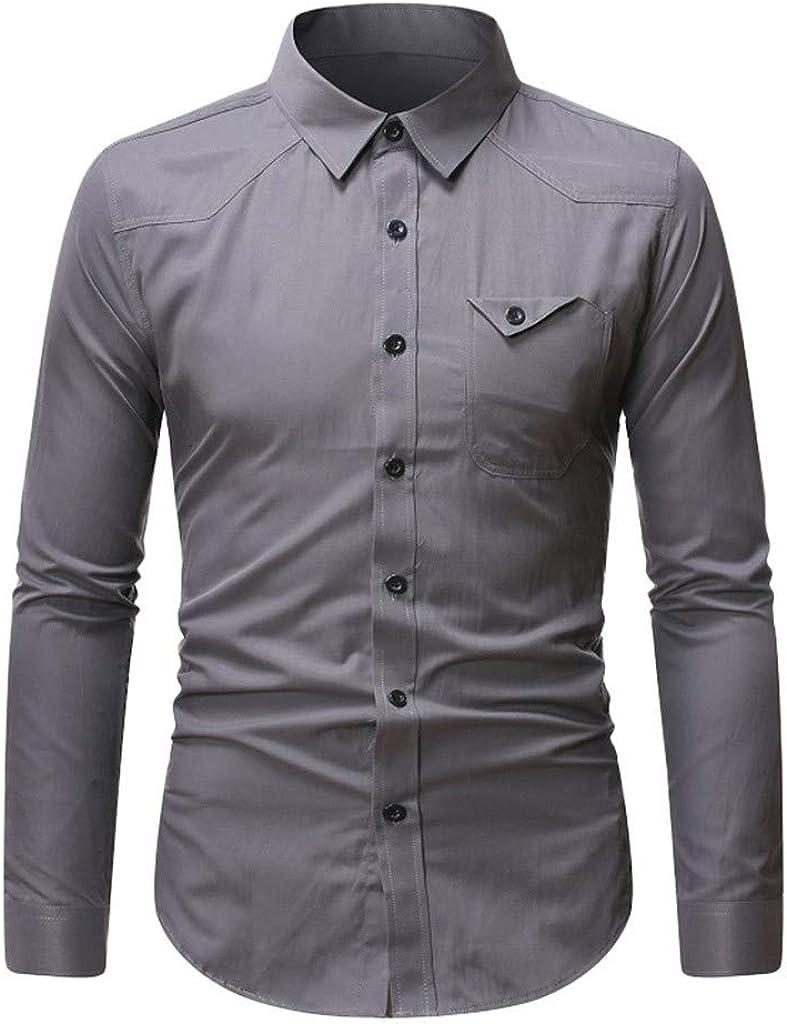 Mens Slim Loose Long Sleeve Pure Turn-Down Collar T-Shirt Tops