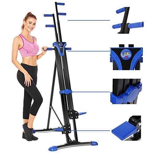 Aceshin Vertical Climber Machine, Home Gym Exercise Folding Climbing Machine,Indoor Vertical Climbing Exercise Machine, Fitness Stepper for Whole Body Cardio Workout Training (Blue Black)
