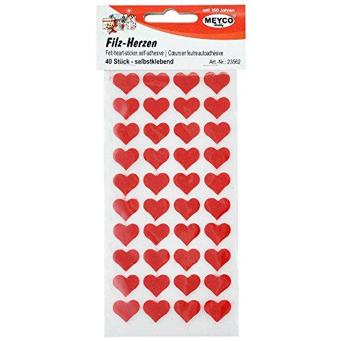 Filz-Herzen selbstklebend 40 Stück/Beutel rot