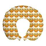 ABAKUHAUS Emoticon Cojín de Viaje para Soporte de Cuello, Cariñosos Felices del Estado de ánimo de la Cara, de Espuma con Memoria y Funda Estampada, 30 cm x 30 cm, Amarillo
