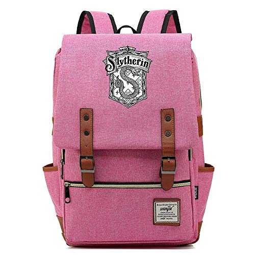 Mochila Slytherin Harry P Hogwarts Insignia, Mochila Informal, se Adapta a una Tableta portátil de 15', Mochila de Viaje Escolar de 14 Pulgadas. Color-10.