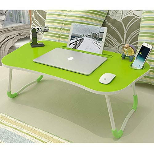 Laptop bureau voor Bed LAPTOP STAND Grote Opvouwbare Notebook Table Portable Lap Permanent Bureau met de Kop van Slot Breakfast Bed Tray Book Holder for Sofa Terras Balkon Tuin (Kleur: Groen)