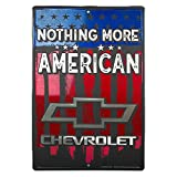 HangTime Chevrolet Nothing More American Blechschild, 30,5 x 45,7 cm, Wanddekoration, Vintage Chevy Wall Art mit US Fahne