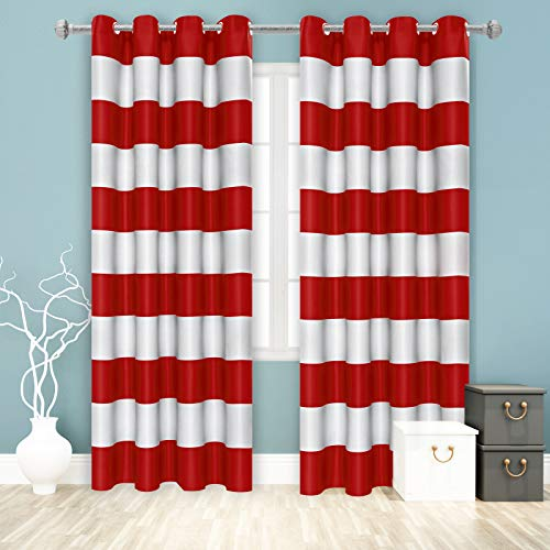 BONZER Stripe Christmas Window Curtains for Bedroom - Grommet Room Darkening Curtain, Thermal Insulated, Noise Reducing and Light Blocking Drapes for Living Room, Red, 52 x 84 inch, Set of 2 Panels