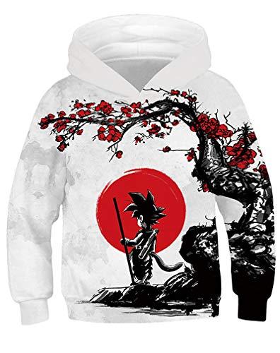 AMOMA Unisex Sweatshirt Hoodies für Kinder 3D Digitaldruck Galaxy Anime Kapuzenpullover(Medium/8-11 Jahren,Wukong)