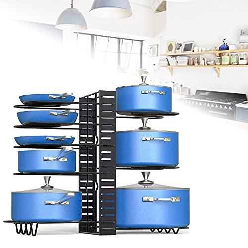 EMAGEREN Soporte para Sartenes Vertical de 8 Niveles Soporte para Tapas de Ollas Ajustable Organizador de Sartenes y Ollas Estante para Tapas de Ollas con 3 Métodos de Uso para Mostrador de Cocina