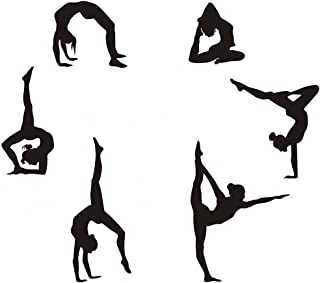 "Easma Gymnastics Wall Decals Silhouettes Sport Art Girl Vinyl Decals Wall Sticker Fits Kids Room Decor Home Wall Decor Set of 6 (7.87""H X 23.62""W)"