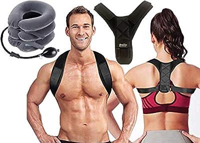 Bundle-Posture Corrector for Men and Women & Inflatable Cervical Neck Traction Device- Adjustable Upper Back Brace-Neck Stretcher for Clavicle Support and Providing Shoulder-Neck & Back Pain Relief.