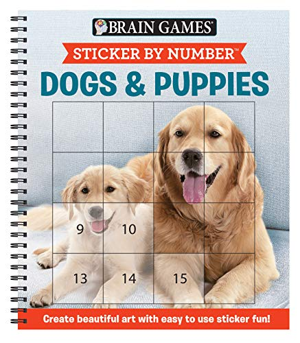 Brain Games - Sticker by Number: Dogs & Puppies (Square Stickers): Create Beautiful Art With Easy to Use Sticker Fun!