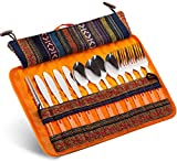 Cutlery Organizer Utensil Travel Set - 13 Piece Silverware Display Stand | Cotton and Linen Flatware Storage Pouch Travel Kit with Handle for Hiking, Picnics, BBQ's | Forks Spoons Knives Chopsticks