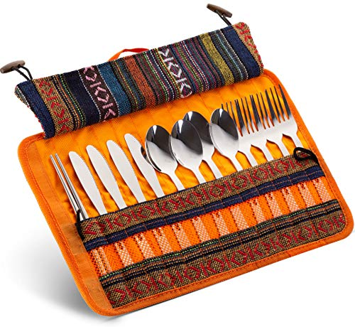Set de utensilios de viaje organizador de cubiertos – 13 piezas soporte de exhibición de cubiertos | algodón y lino bolsa de...
