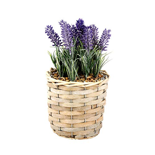 GIA Artistically Recreated Artificial Potted Plant Fields of Provence Lavender with Decorative Wicker Basket, Purple