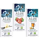 Aloe Cadabra All Natural Aloe Vera Lubricant & Moisturizer, Assorted Flavored Water Based Lube Travel Bundle for Her, Him & Couples: 1 each - Vanilla, Butter Rum and Strawberry