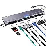 AZDOME USB C HUB 12 in 1 Docking Station Universale con 3 Porte USB 3.0, Porta 4K HDMI/VGA/DP, Porta RJ45 Gigabit Ethernet, Porta Type c 87W, Porta per schede SD e TF, Porta Audio Jack da 3,5 mm