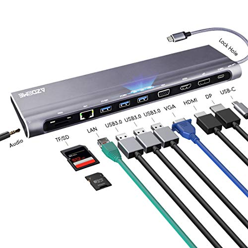 HUB USB C Adaptador 12 en 1, 4K HDMI/VGA/DP/USB 3.0/Tipo C/Tarjeta SD/Tarjeta TF/Ethernet RJ45│Concentrador Multipuerto para MacBook,Mac Pro,Chromebook,Huawei,Windows Lenovo,Xiaomi,Dell,Samsung